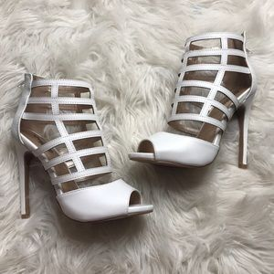Caged White Heels